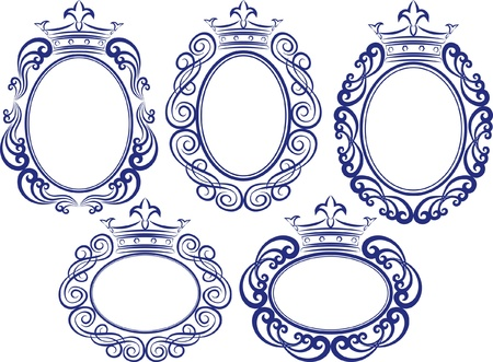 set of decorative frames with crown Vector