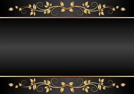brushed gold: black background with floral ornaments Illustration