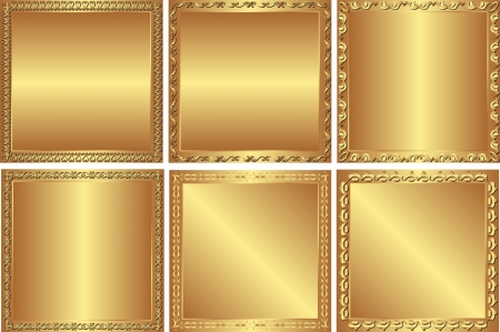 set of  golden background with square border Vector
