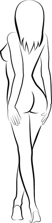 nude woman standing: sketch of a naked woman - back view
