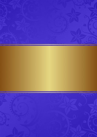 gold and blue background with floral ornaments Vector