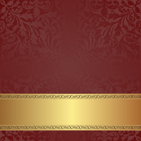 maroon background with golden frame Vector