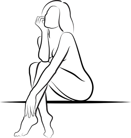 black breast: nude woman sitting