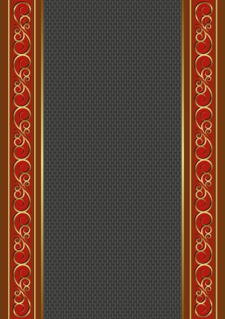 red and black background with golden ornaments Vector