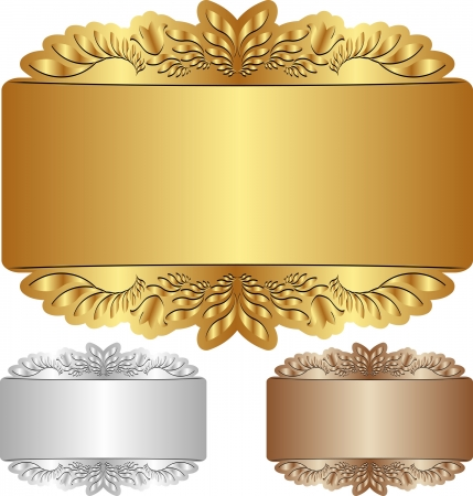 gold, silver and brown background with ornaments Stock Vector - 21947296