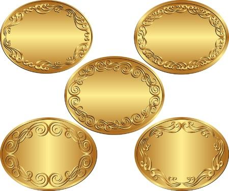 ovals: set of golden oval backgrounds Illustration