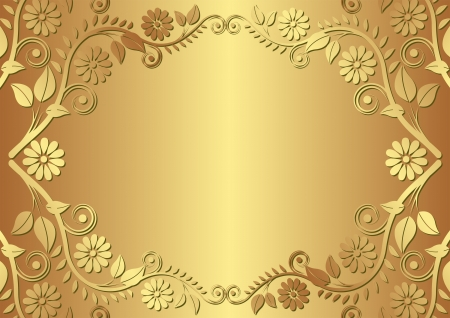 golden background with floral border Vector