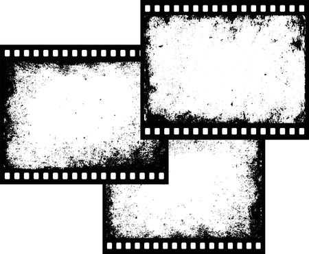 three grunge film frames with transparent space insert Vectores