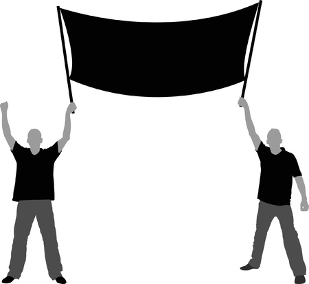 an illustration promoting: Two men with a banner Illustration