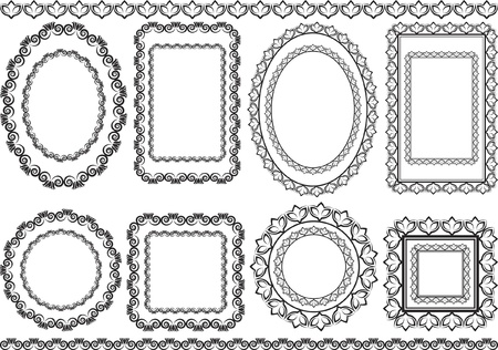 oval shape: frames, borders and ornaments Illustration