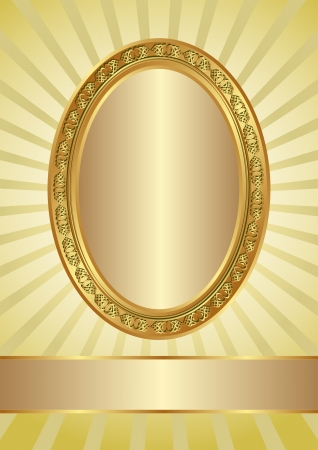 oval frame: yellow background with golden ova frame