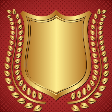 golden background with shield and laurel wreath Vector
