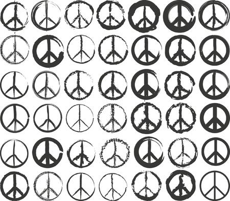 peace symbol: set of isolated stylized peace symbol