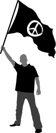 peace symbol: man holding a flag with peace symbol Illustration