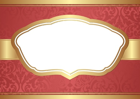 red background with golden frame and transparent space insert for picture Vector