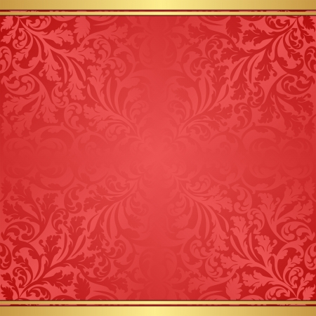 red background with abstract floral ornaments Vector