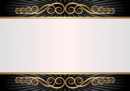 brass plate: white and black background with golden ornaments