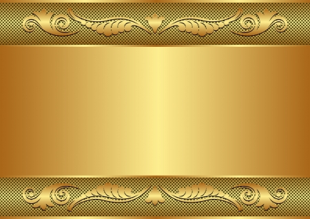 brass plate: golden background with floral border and copy space Illustration