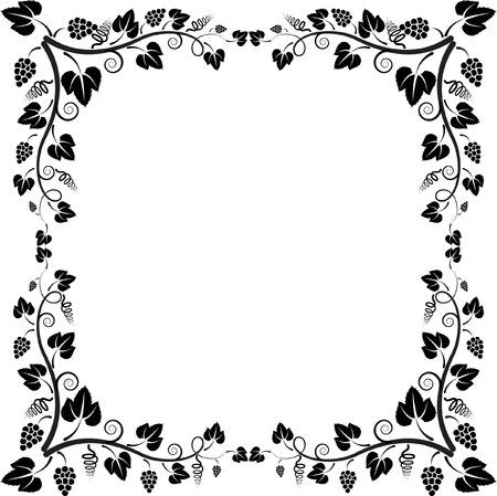 vine art: silhouette of frame vine  Illustration