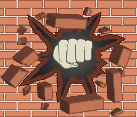 bash: Fist breaking through red brick wall  Illustration