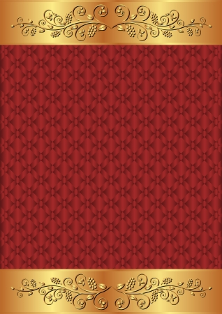 claret: crimson and gold background with floral ornaments