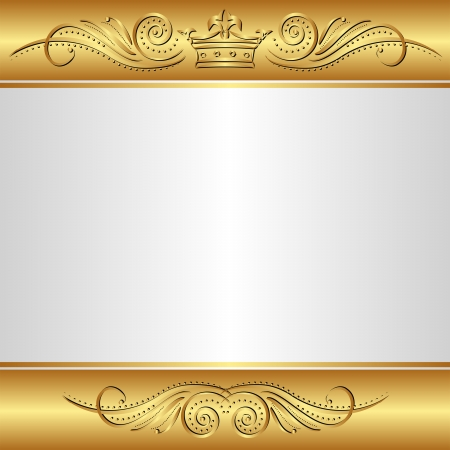 gold and silver background with crown Illustration