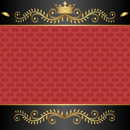 regal: red and black background with golden crown Illustration