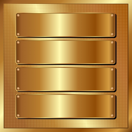 brushed metal: golden panel with four banners