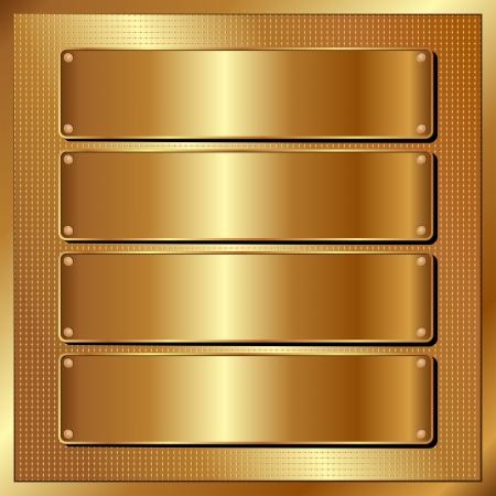 gouden paneel met vier banners