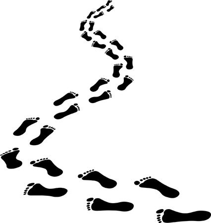 receding footprints Vector