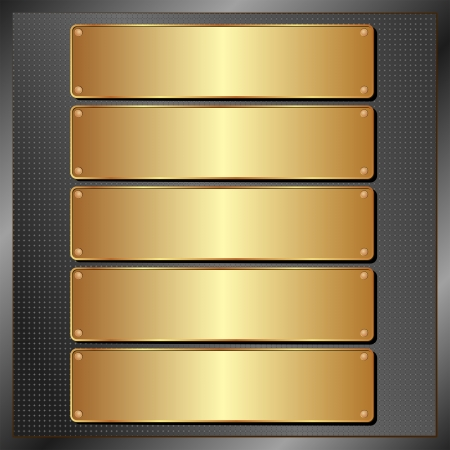 brass plate: dark panel with five golden banners
