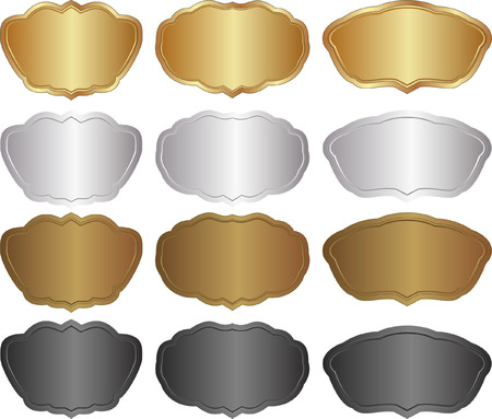 set of metallic banners - gold, silver, brown, black Stock Vector - 22707487