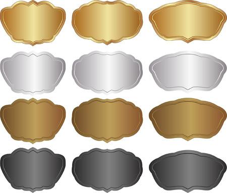 metallic banners: set of metallic banners - gold, silver, brown, black Illustration