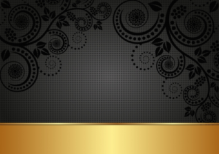 black and gold background with floral ornaments Vector