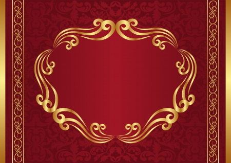 dark red background with golden frame Vector