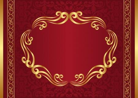 crimson: dark red background with golden frame