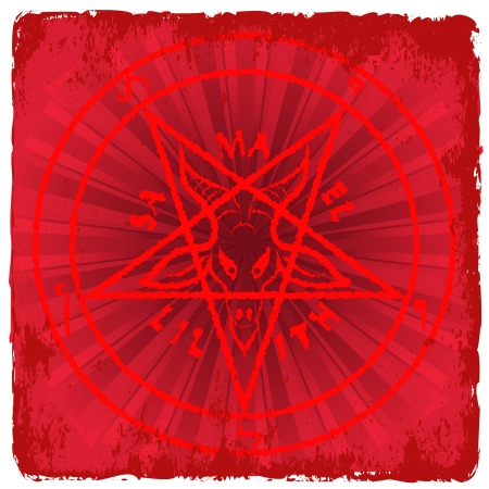pentagram: symbol of Satan on red background