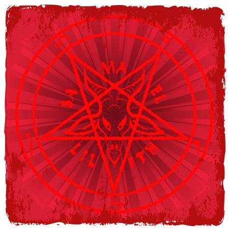 neopagan: symbol of Satan on red background