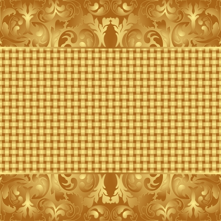 quadrat: yellow and brown background with floral ornaments Illustration