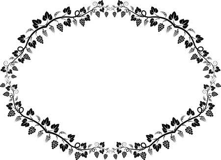 oval  alcohol: silhouette of vine frame