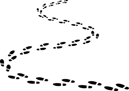 footprints on winding road  Illustration