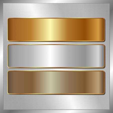 brass plate: silver panel with three metallic banners Illustration
