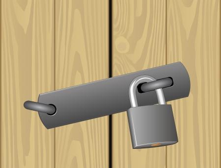 padlocked:  padlocked wooden door