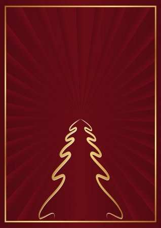 crimson background with Christmas tree Vector