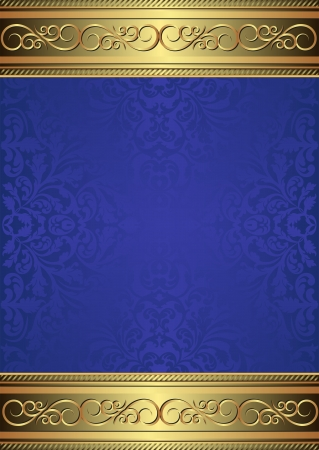 blue background with golden ornaments Vector