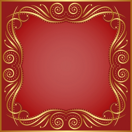 background red: roten Hintergrund mit goldenen Rand Illustration