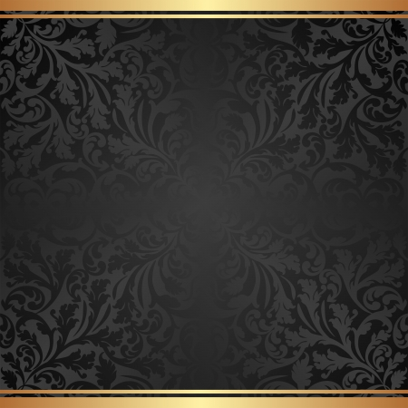 black background with abstract floral ornaments  Vector