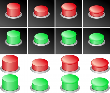 set of red and green buttons