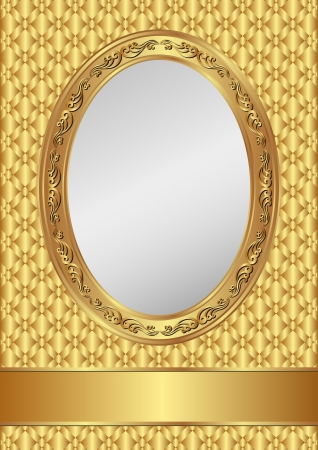 silver frame: golden background with oval frame and copy space