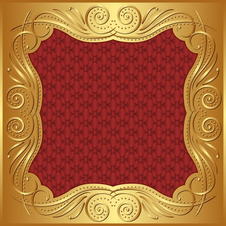 maroon: red gold background with ornaments Illustration